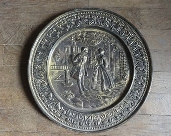 Vintage English large brass hanging tray decorative antique city scene circa 1960's / English Shop
