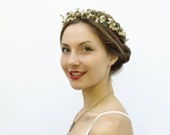 Gold Flower Crown, Gold Crown, Gold Baby'sBreath Flower Crown, Bridal Headpiece, Boho, Gold Hair Crown, Gold, Floral Crown, Bridal Crown
