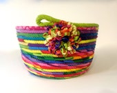 Coiled Rope Basket , Jelly Bean Colors , Easter Basket ,  Silk Ribbon Flower Organizer