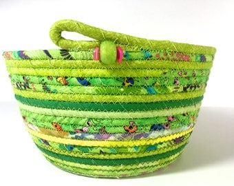 Coiled Rope Basket in Bright Green - Spring Clothesline Bowl - Handmade Organizer - Modern Decor - Functional FIber Art - Pink and Green