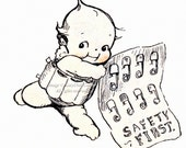 Kewpies Greeting Card - Kewpie with Safety Pins - Rose O'Neill