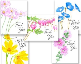 Colorful Flower Thank You note cards w/envelopes