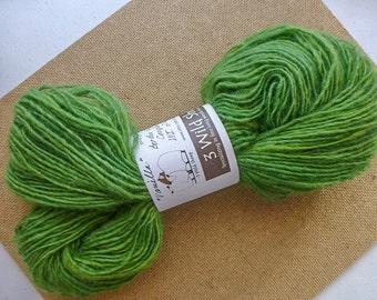 "Handspun Yarn from Wisconsin sheep ""Vanilla""  Medium Grass Green.  202 yds (#221)"