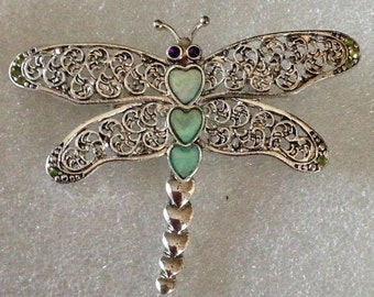 Vintage Silver Dragonfly Pin, Brooch, Coat Pin, Shawl Pin, Bent Spoon Jewelry