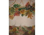 Beautiful landscape, autumn leaves, giclee print on canvas, relaxing art, charming image, fruit, pear, earth colors, calm, fireside mood