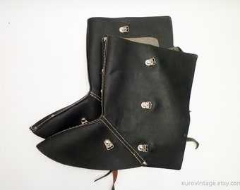 Vintage Black Leather Safety Spats Steampunk Spats