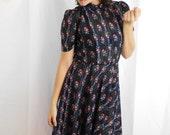 70s Semi Sheer Floral Striped Peter Pan Collar Midi Dress / Garden / Party / Picnic Dress / Lolita /  School Girl Dress