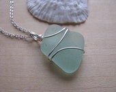 Large Sea foam Green Sea Glass Jewelry Aqua Sea Glass Pendant Beach Glass Necklace