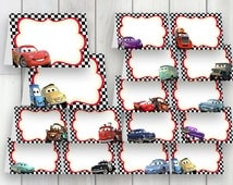 CARS Party Food Labels, LARGE PACK, 16 Instant Download labels, Cars printable food labels, Cars place cards, Cars name tags
