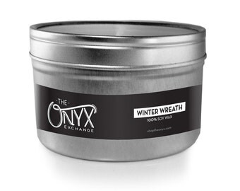 Winter Wreath Candle - 4 oz. Tin Soy Wax Candle - Sweet Balsam Fir & Crisp Pine Needles Scented