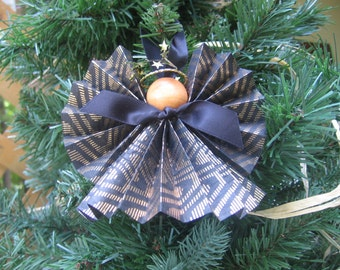 Angel Christmas Ornament, Black Gold Paper Ribbon Angel, Black Gold Tree Ornament, Ribbon Paper Angel, Glitzy Angel, Black Decor, Christmas