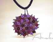 Minimalist necklace, textile necklace purple - Handmade textile jewelry - OOAK ready to ship
