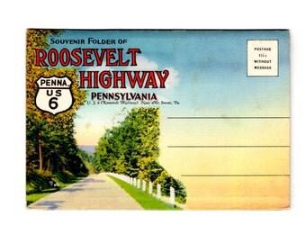 Vintage Roosevelt Highway Pennsylvania Postcard Souvenir Folder, Retro Road Trip Ephemera, Travel Journal, Scrapbook Supplies
