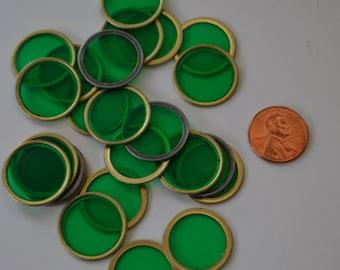 Vintage Plastic Green Circles Dots