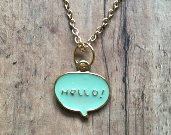 Mint hello necklace