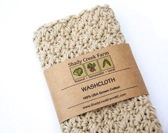 WASHCLOTH - USA Grown Cotton, handmade washcloth, crochet washcloth, natural wash cloth, Stocking Stuffer Christmas Gift Woman Gift Man Gift