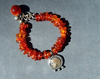 Rustic Amber Bracelet with Sterling Silver, Ancient Coin and Red Agate, Upcycled Jewelry, Birthday Gift, Present for Her, Vintage Amber