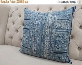 "ON SALE, Hmong Handmade Fabric Cushion Cover Boho Batik Neon Stripe Vintage Ethnic Tribal 20"" x 20"" Pillow"
