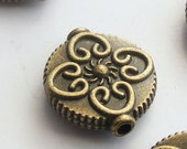 4pcs Antique Brass Flower Coin Beads 13mm Z-N1020-AB