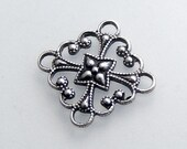 LuxeOrnaments Oxidized Sterling Silver Plated Filigree Square Connector (2 pcs) T11-VJS