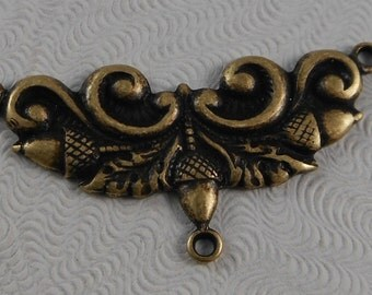 LuxeOrnaments Oxidized Brass Filigree Acorn Focal Connector  (1 pc) G-5491-B