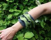 felt cuff fibre bangle felted bracelet green blue cuff frilled felt cuff felt jewellery fiber jewely  soft bracelet blue green cuff OOAK