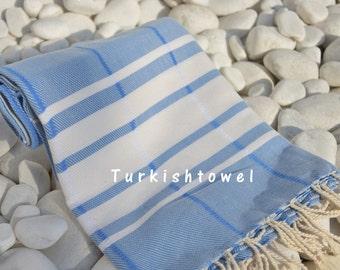 Turkishtowel-Soft-Hand woven,warp&weft cotton Bath,Beach,Travel Towel-Point twill pattern,Cream stripes on Blue