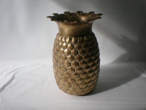 vintage large brass pineapple vase. Black Bedroom Furniture Sets. Home Design Ideas