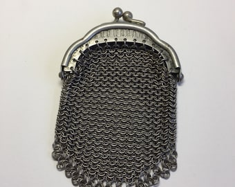 Antique Victorian Chainmail Coin Purse Pendant