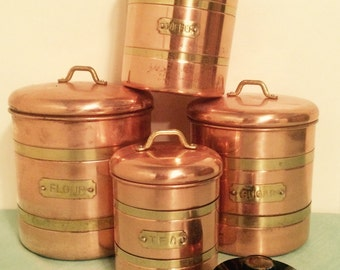 Solid Copper Canisters Featuring Brass Knobs And Bands Flour, Sugar And Coffee Set. Vintage Kitchen Canisters Kitchen Copper Salt Cellar