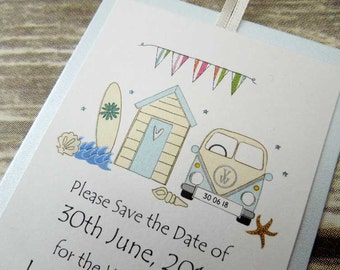 Campervan Surfboard Beach Hut Save the Date luggage tags