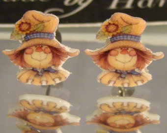 Fall Scarecrow Face Stud Earrings - Thanksgiving Jewelry