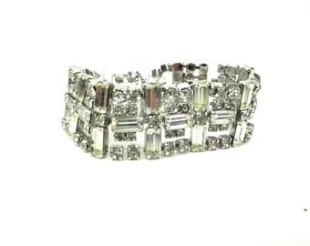 1950s Wide Cuff Clear Rhinestone Bracelet