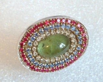 SUMMER SALE Green Prehnite Cab and multi crystal sterling silver ring
