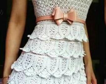 Crocheted Sleeveless Layered Lace Frock