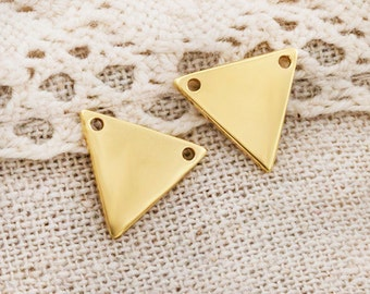 2 of 925 Sterling Silver 24k Vermeil Style Triangle Links, Connectors 12mm.  :vm0758