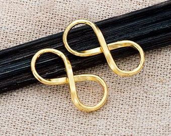 2 of 925 Karen Hill Tribe  24k Gold Vermeil Style Infinity Links, Connectors 10x20 mm.  :vm0767