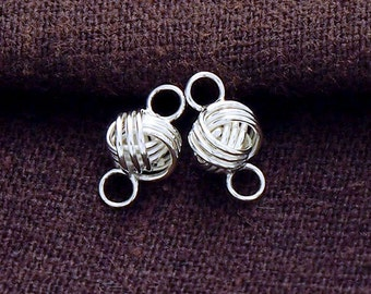 4 of 925 Sterling Silver Love Knot Links, Connectors 6x9mm. Polish Finished.  :tk0050