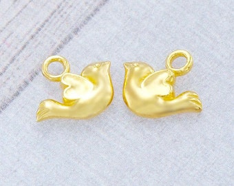 2 of 925 Sterling Silver 24k Gold Vermeil Style Bird Charms 7x11 mm. :vm0675