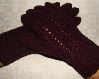 Women gloves- hand knitted from natural wool, very warm