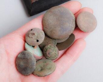 Set of 10 Antique metal buttons, original dark patina