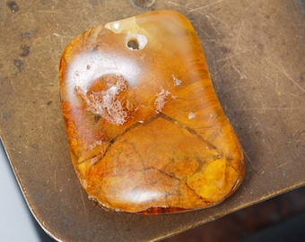 Genuine Natural Baltic Amber charm, pendant for necklace with hole