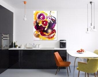 Original Wall Art, Original Abstract Painting, Expressionism, Colorful Artwork, Purple Fantasy Art Work, Whimsical Art, Happy Art Wall Decor