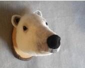 ON SALE needlefelted Polar Bear style fake taxidermy by felt factory/faux fauna