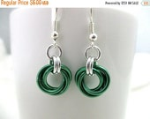 SPRING SALE Mint Green Mobius Chainmaille Earrings