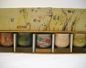 Vintage Set Of 5 Pottery Sake Cups With Wooden Coaster In Box