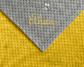 Baby Blanket - Gray MINKY Dot, Corn Yellow MINKY Dot - Reese - BB1