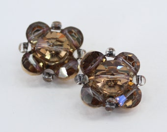 Vintage Clear Amber Brown Cut Glass Crystal Beaded Cluster Mid Century Hollywood Regency Clip On Earrings
