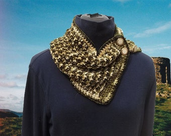 Mossy Green and Gold Button Cowl