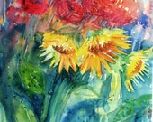 Red Poppies  and  Sunflowers - Original  Art   -  Large size watercolor  22 x15ins